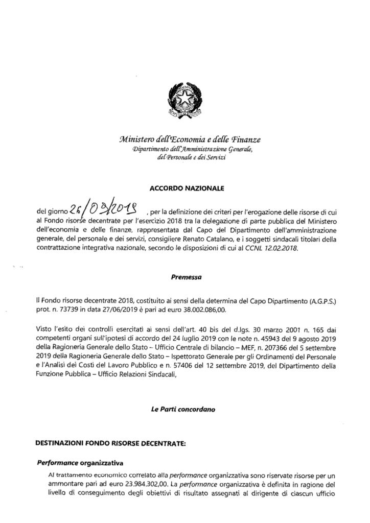 thumbnail of Accordo Fondo Risorse Decentrate 2018 (ex FUA)