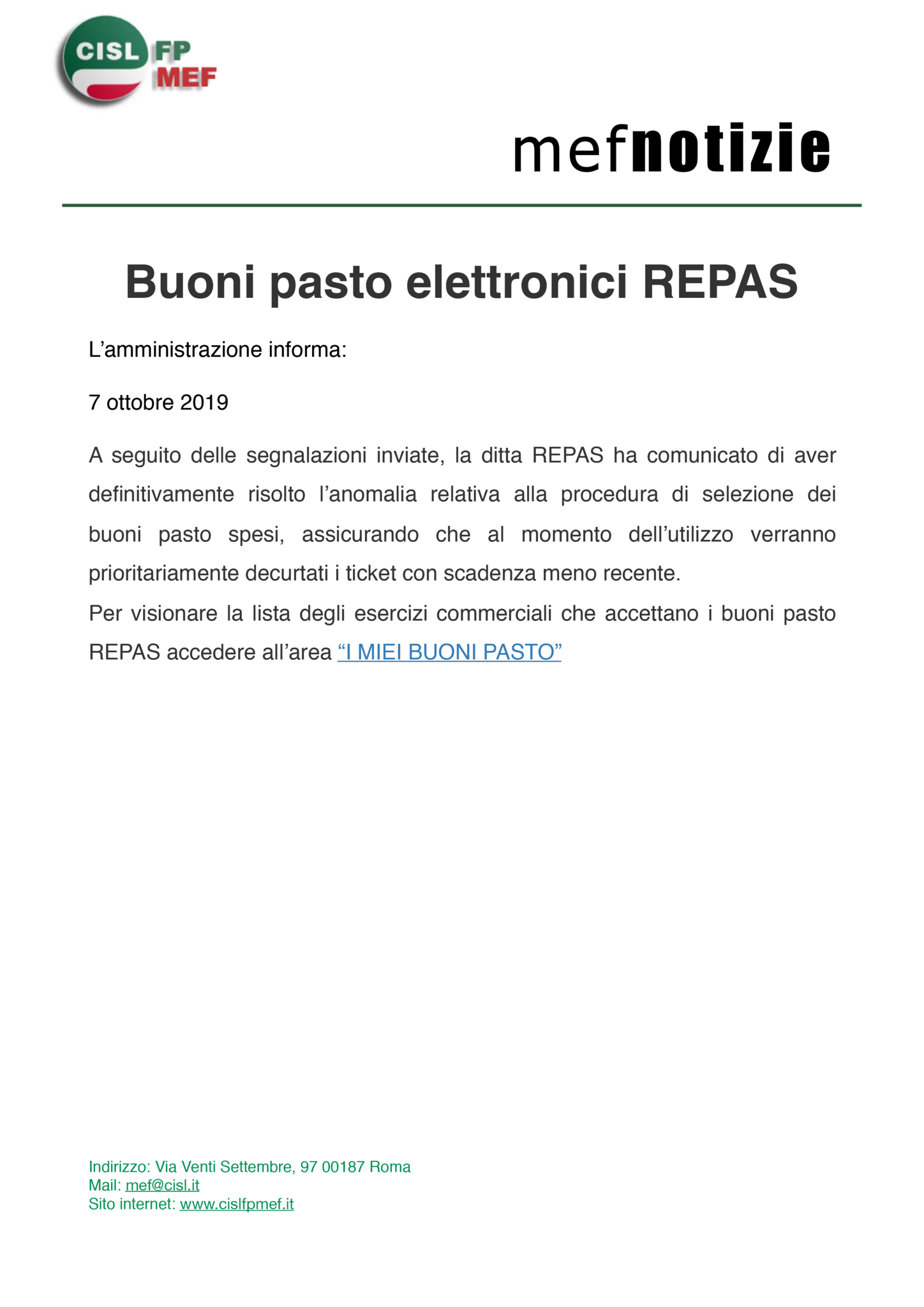 thumbnail of mef notizie – buoni pasto elettronici repas