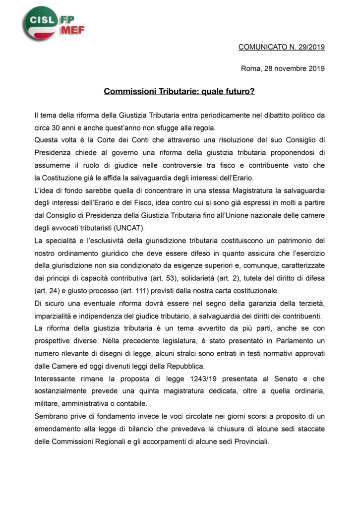 thumbnail of 29 COMUNICATO – Commissioni Tributarie quale futuro-