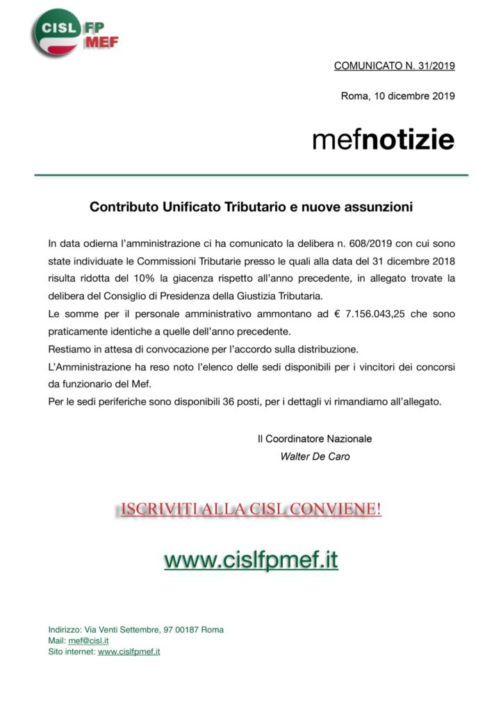thumbnail of 31 COMUNICATO – Contributo unificato e nuove assunzioni