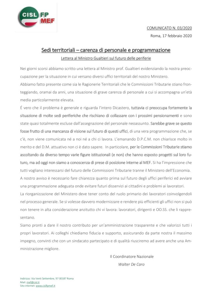 thumbnail of 3-20 COMUNICATO – Sedi territoriali – carenza di personale e programmazione.pdf
