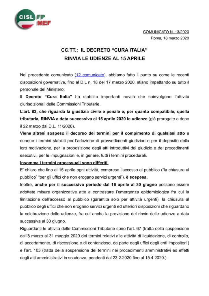 """thumbnail of 13 COMUNICATO – CC.TT.- IL DECRETO """"CURA ITALIA"""" RINVIA LE UDIENZE AL 15 APRILE"""