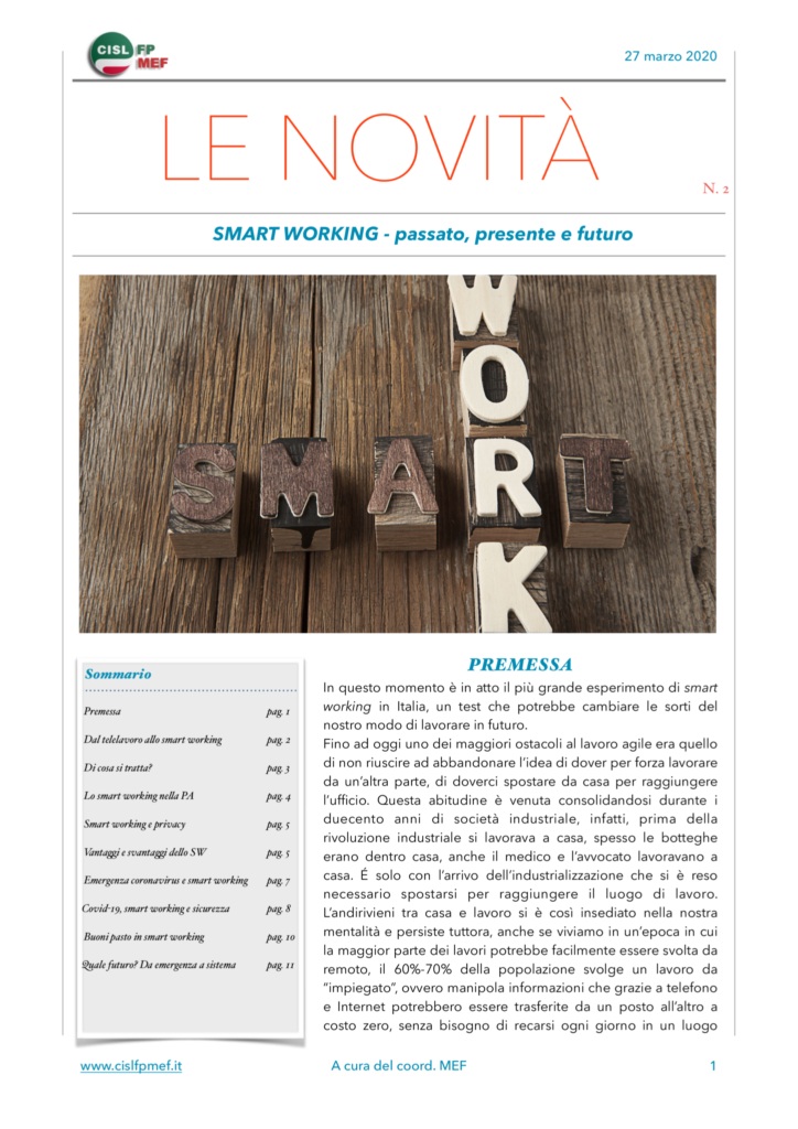 thumbnail of Le Novità – Smart Working