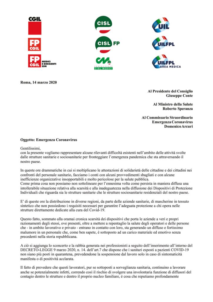 thumbnail of Lettera – Emergenza Coronavirus segretari generali