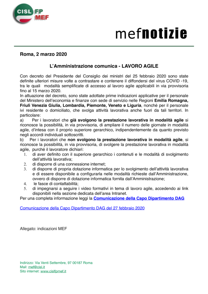 thumbnail of mef notizie – LAVORO AGILE