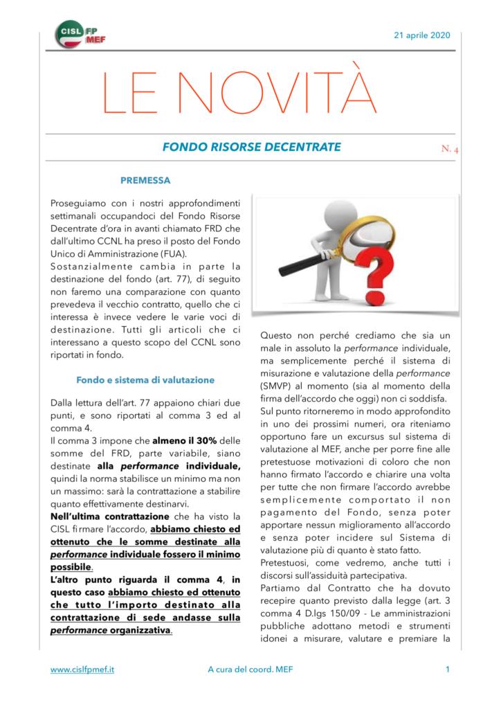 thumbnail of Le Novità – Fondo Risorse Decentrate