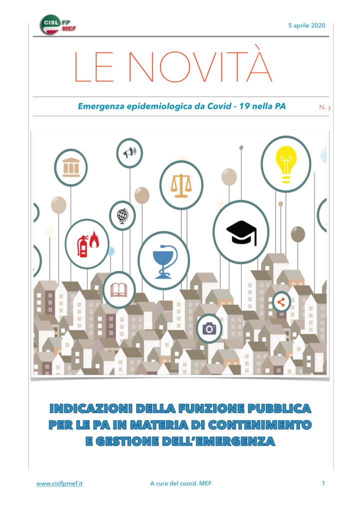 thumbnail of Le Novità – indicazioni in materia di contenimento e gestione dell'emergenza epidemiologica da COVID-19 nelle PA