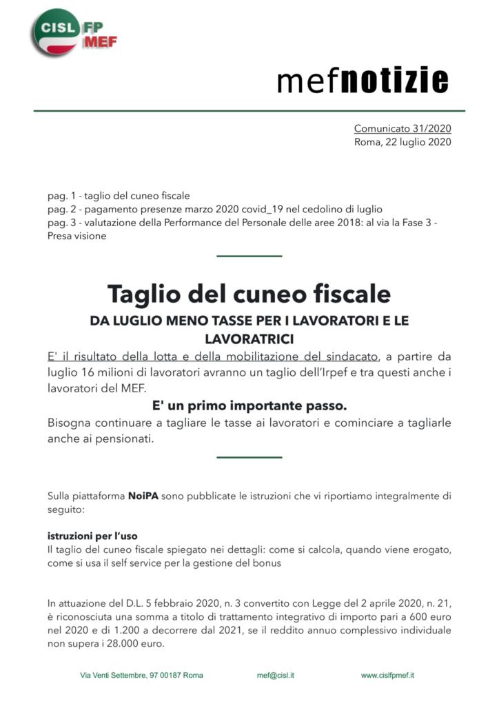 thumbnail of 31 COMUNICATO – mef notizie 22 luglio 2020