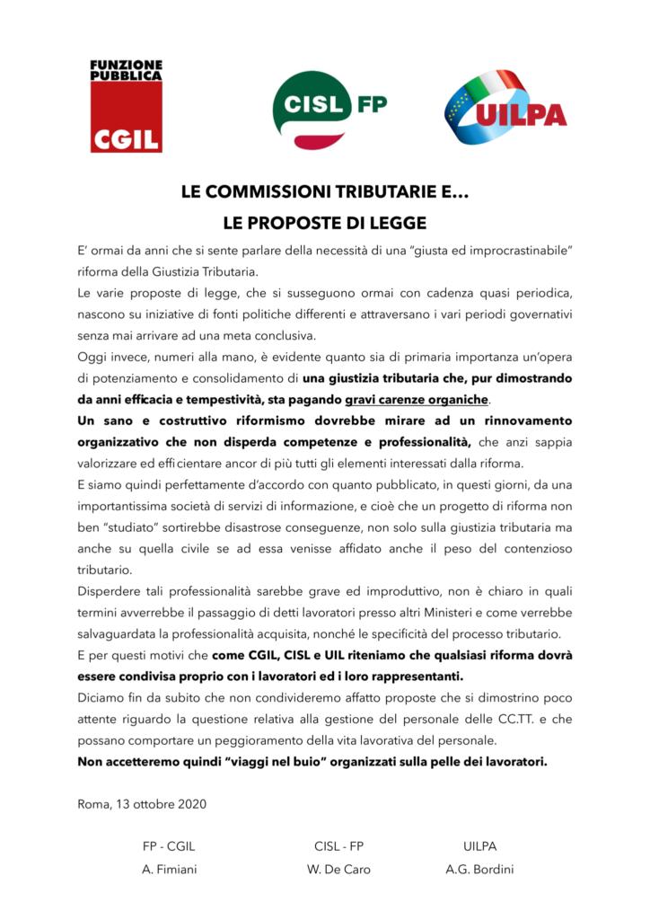 thumbnail of 38:20 Comunicato unitario – Le Commissioni Tributarie e… le proposte di legge