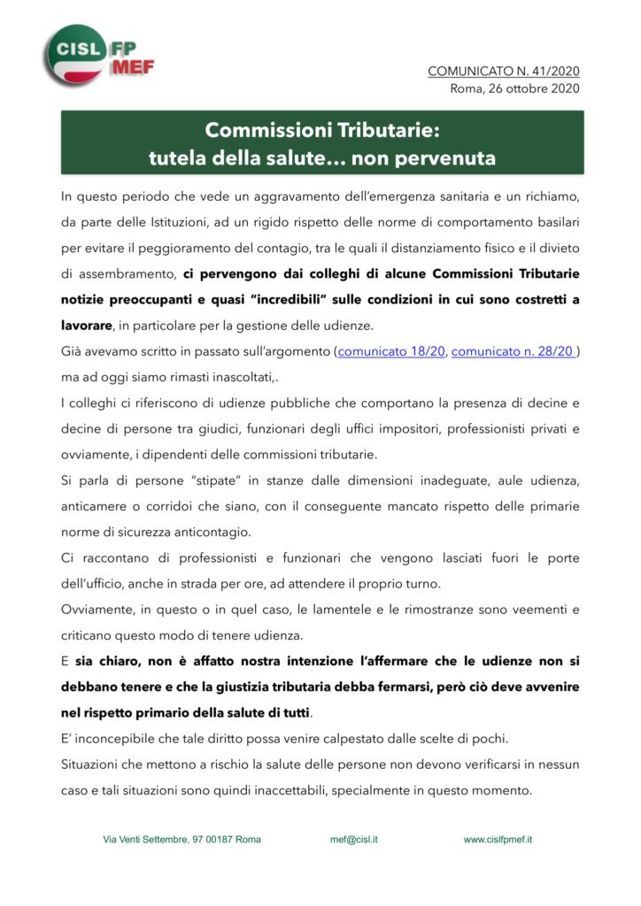 thumbnail of 41:20 COMUNICATO – Commissioni Tributarie-tutela della salute… non pervenuta