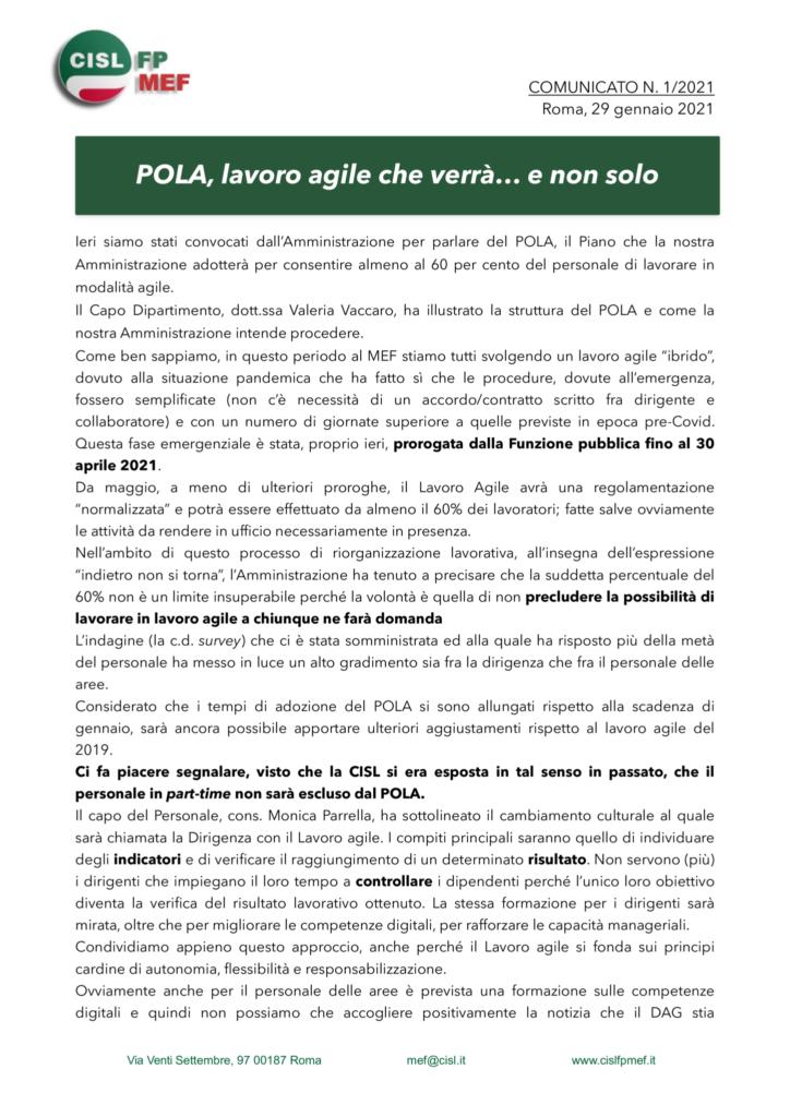 thumbnail of 1:21 COMUNICATO – POLA, lavoro agile e varie