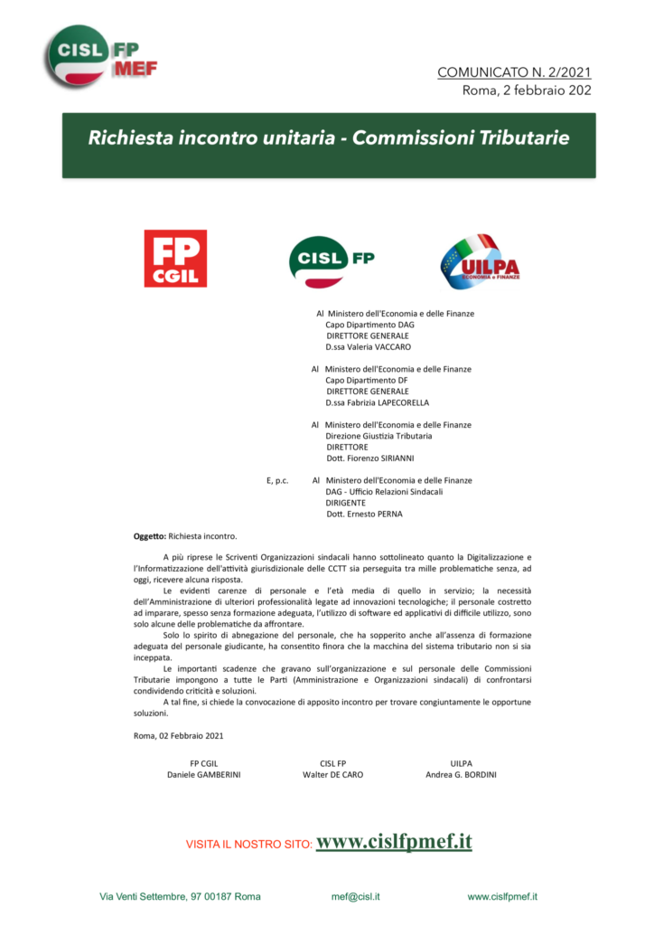 thumbnail of 2:21 COMUNICATO – Richiesta unitaria, incontro Commissioni Tributarie