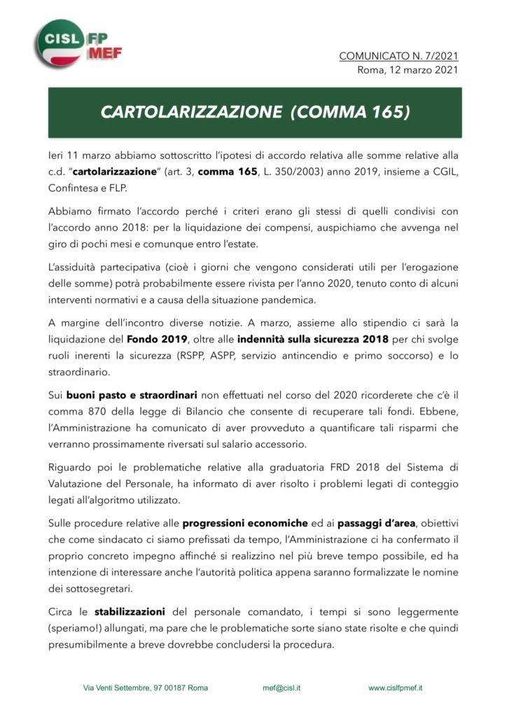 thumbnail of 721 COMUNICATO – CARTOLARIZZAZIONE (COMMA 165) 2