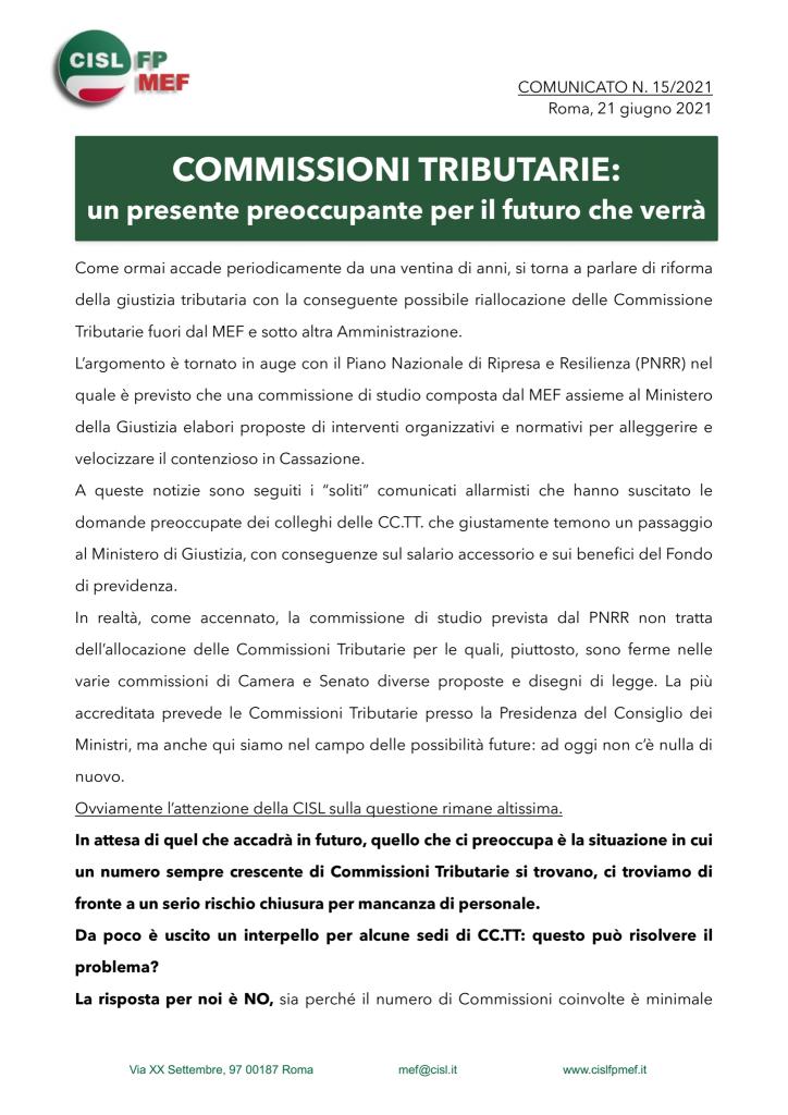 thumbnail of 15:21 COMUNICATO – COMMISSIONI TRIBUTARIE- un presente preoccupante per il futuro che verrà